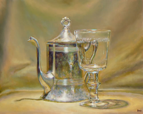 Silver Teapot and Glass