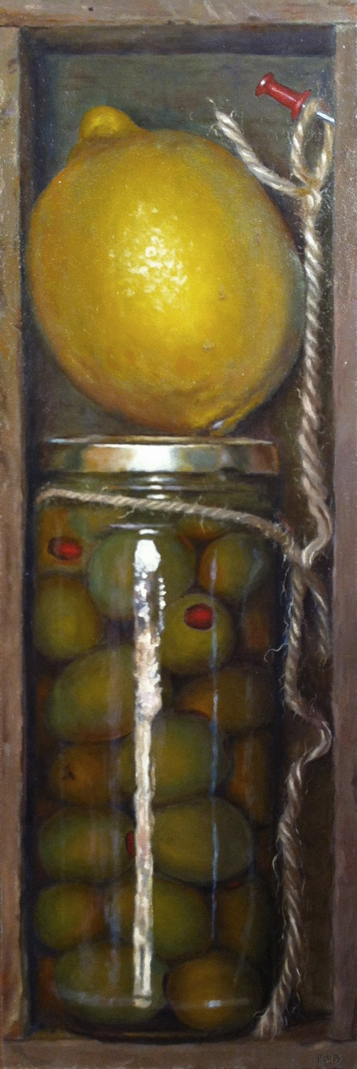 Jeffrey Hayes: Trompe-l'œil Oil Painting: Boxed Olives