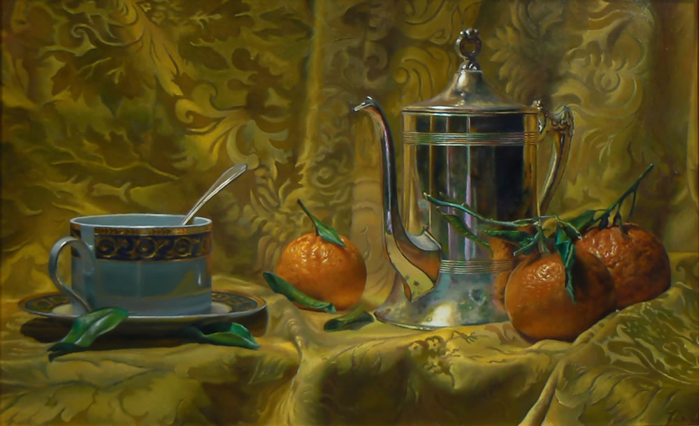 """""""Tea and Oranges"""": Oil Painting"""