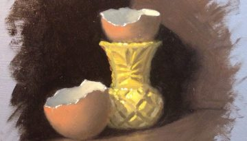 Jeffrey Hayes: Still Life Painting: Oil Painting: Eggcup and Eggshells