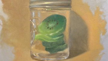 Jeffrey Hayes: Still Life Painting: Oil Painting: Dried Kiwi Jar