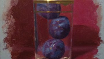 Jeffrey Hayes: Still Life Painting: Oil Painting: Three Plums