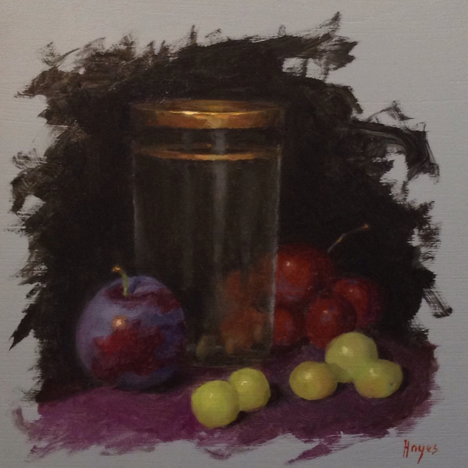 Jeffrey Hayes: Still Life Painting: Oil Painting: Grapes, Plum, Water Glass