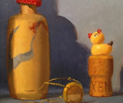 Jeffrey Hayes: Still Life Painting: OIl Painting: Fairy Tale: The Cardinal, the Cork, and the Devil