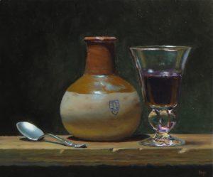 """Spoon, Earthenware Jar, and Wineglass"""