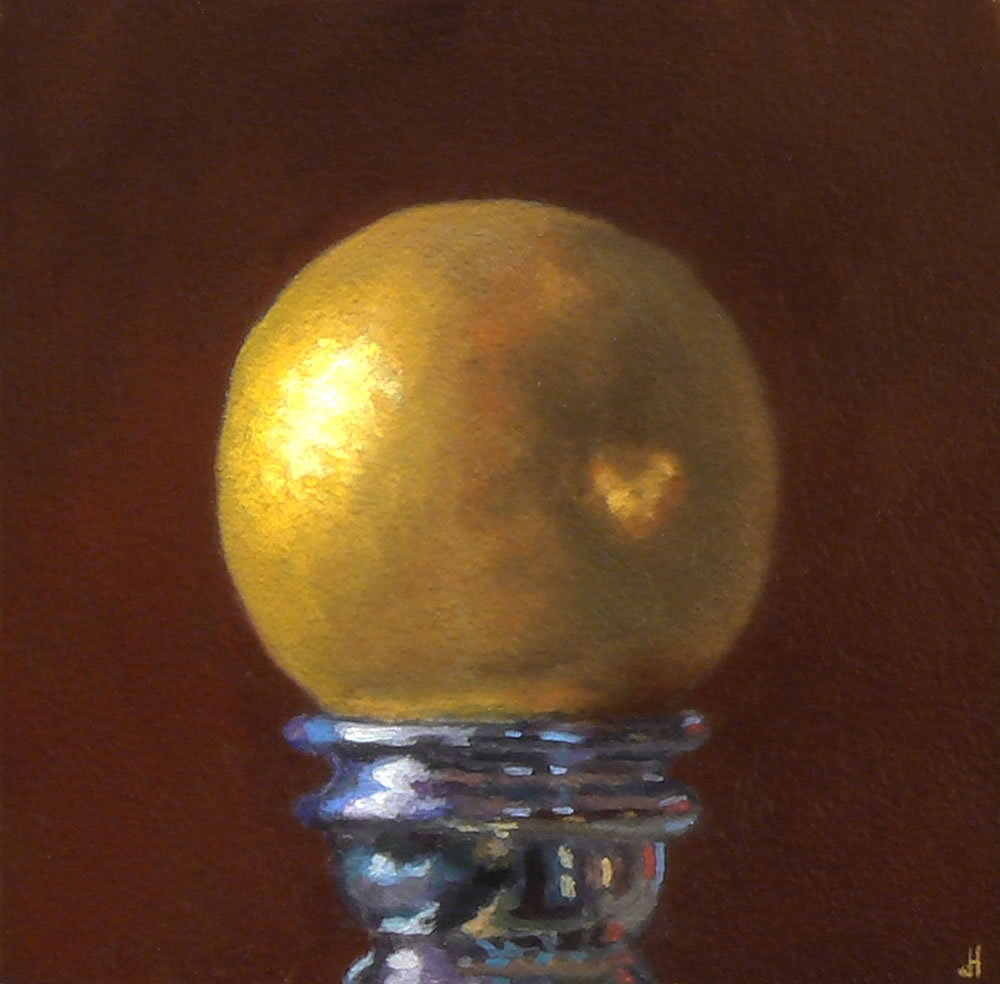 Jeffrey Hayes: Still Life Painting: Oil Painting: Lemon on a Silver Candlestick No. 1