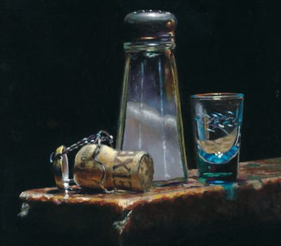 """Cork, Shaker, and Shotglass"", oil on panel, 5x5 inches, 2011, Sold"