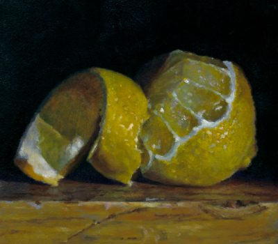 """Peeled Lemon"", oil on panel, 4x4 inches, 2012"