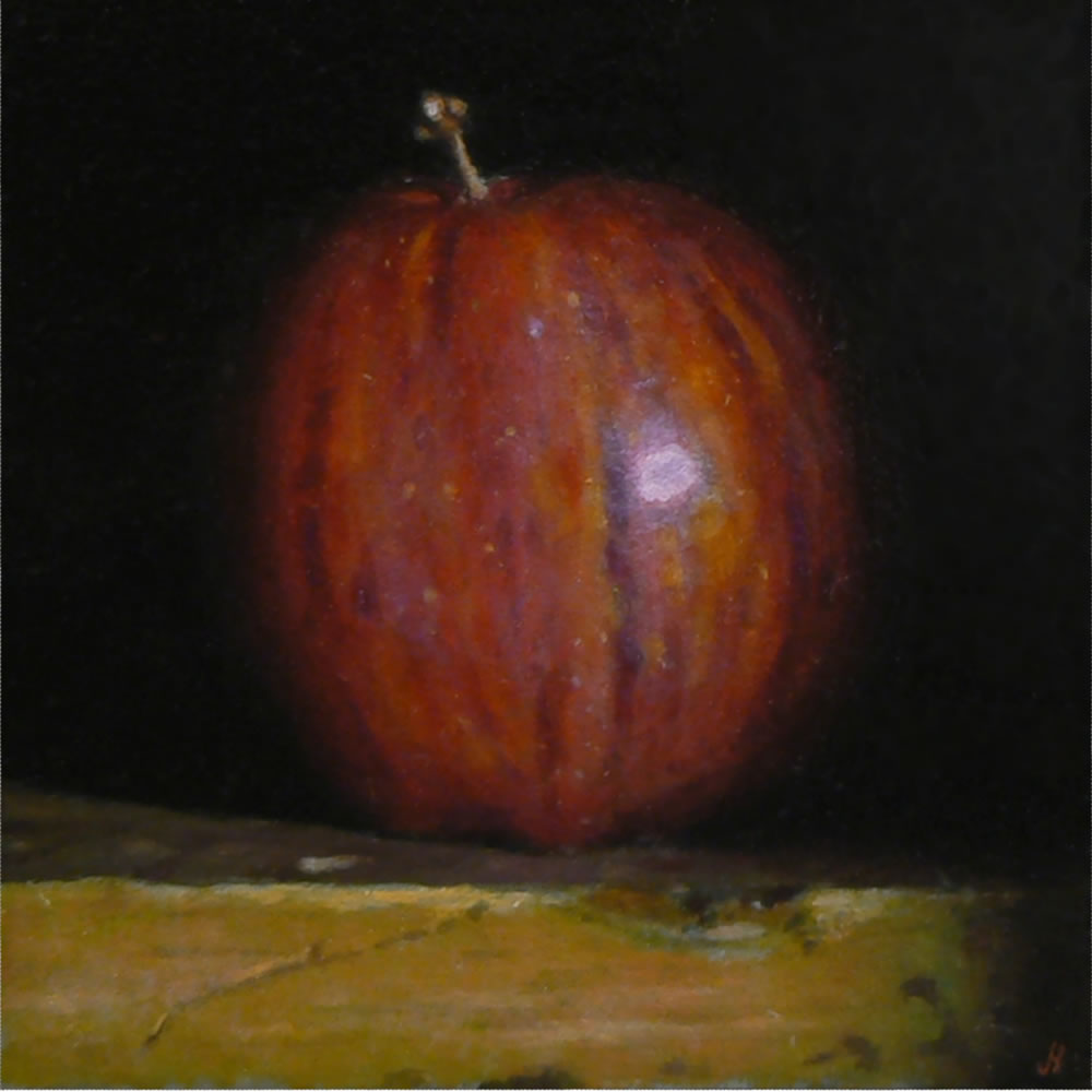 """Jeffrey Hayes: Still life, oil painting, """"Red Apple No. 5"""""""
