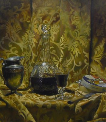"""Silver, Wine, and Cheese"", oil on panel, 24x24 inches, 2012"