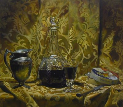 """""""Silver, Wine, and Cheese"""", oil on panel, 24x24 inches, 2012"""