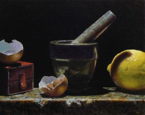 """Kitchen Still Life with Red Box"", oil on linen, 8x10 inches"