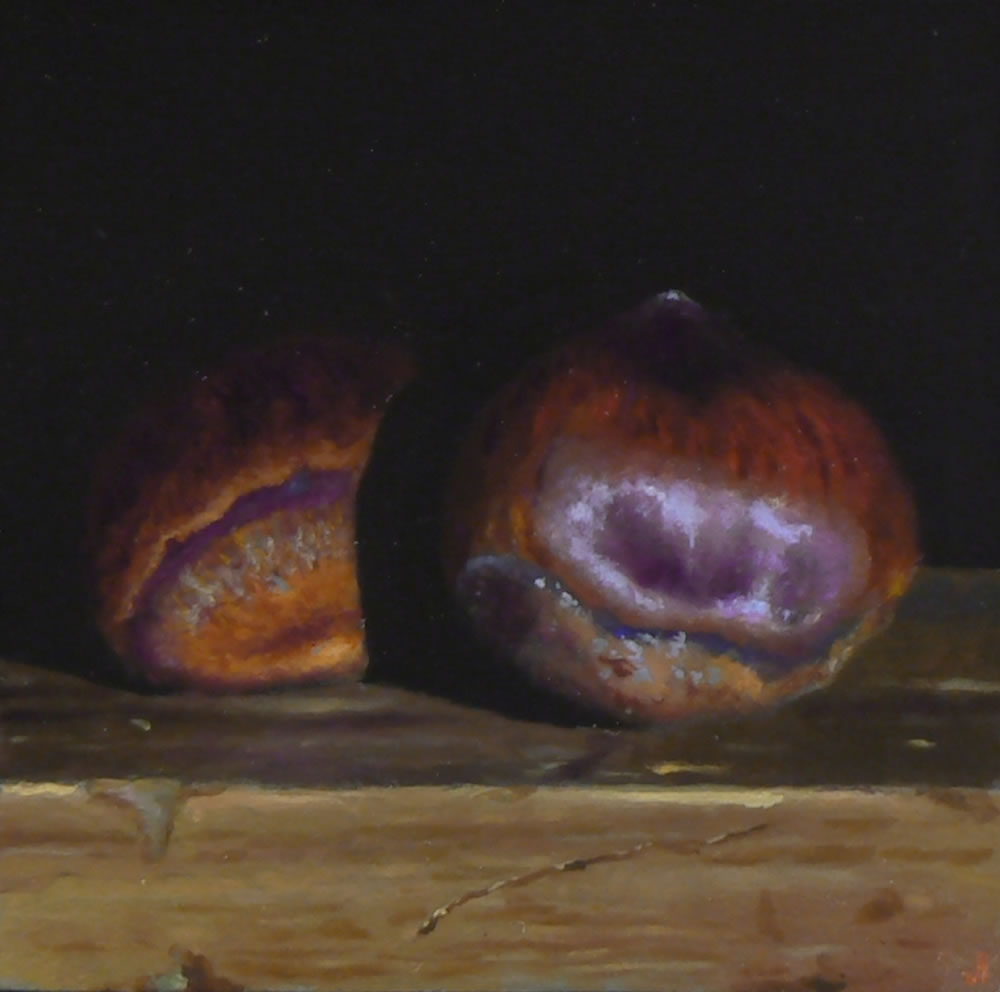 Jeffrey Hayes: Still life; Oil painting; Two Chestnuts