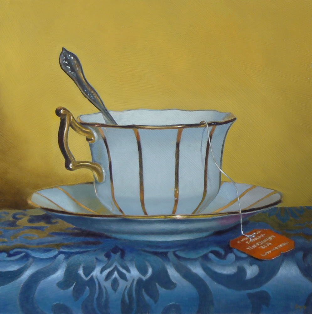 """Golden Teacup"" Oil on Panel, 10x10 Inches, 2013 (sold)"