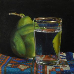 """Pear, Waterglass, and Oriental Rug"""