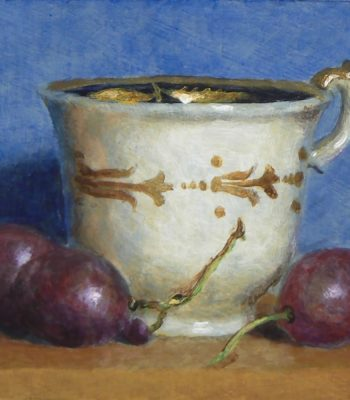 """Teacup and Grapes Against Blue"", oil on panel, 3x3 inches, 2013"