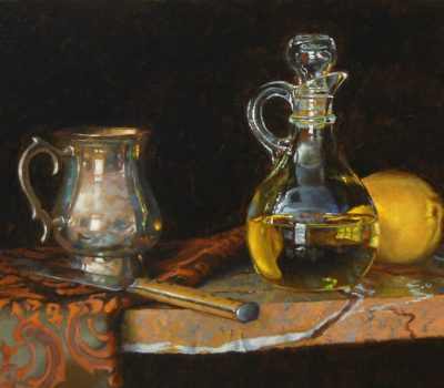 """Silver, Knife, Oil, and Lemon"", oil on linen, 8x10 inches, 2014"