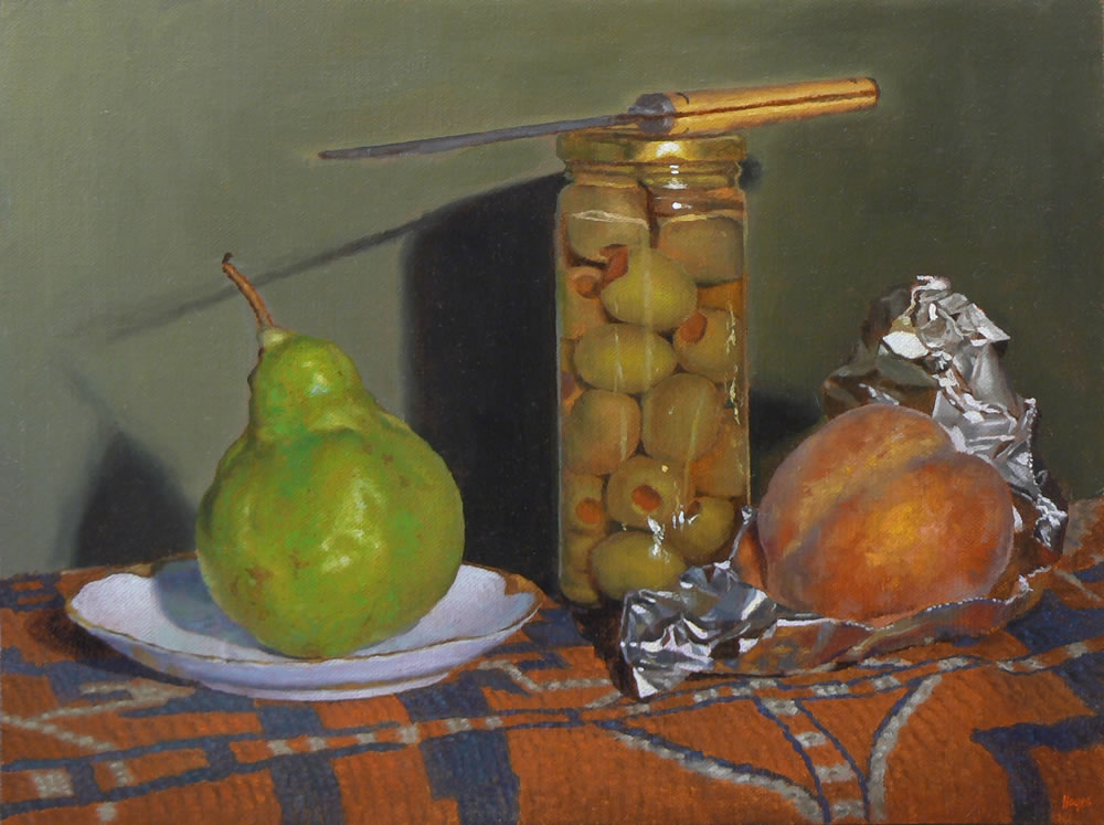 """Pear, Olives, Knife, and Peach"" Oil on Linen, 9x12 Inches, 2014 (sold)"