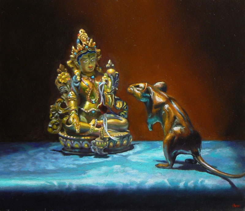"""Buddhas"", oil on panel, 5x6 inches, 2010, SOLD"