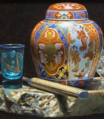 """Shotglass, Knife, Ginger Jar, Salt Shaker"", oil on linen, 9x12 inches, 2015, Sold"