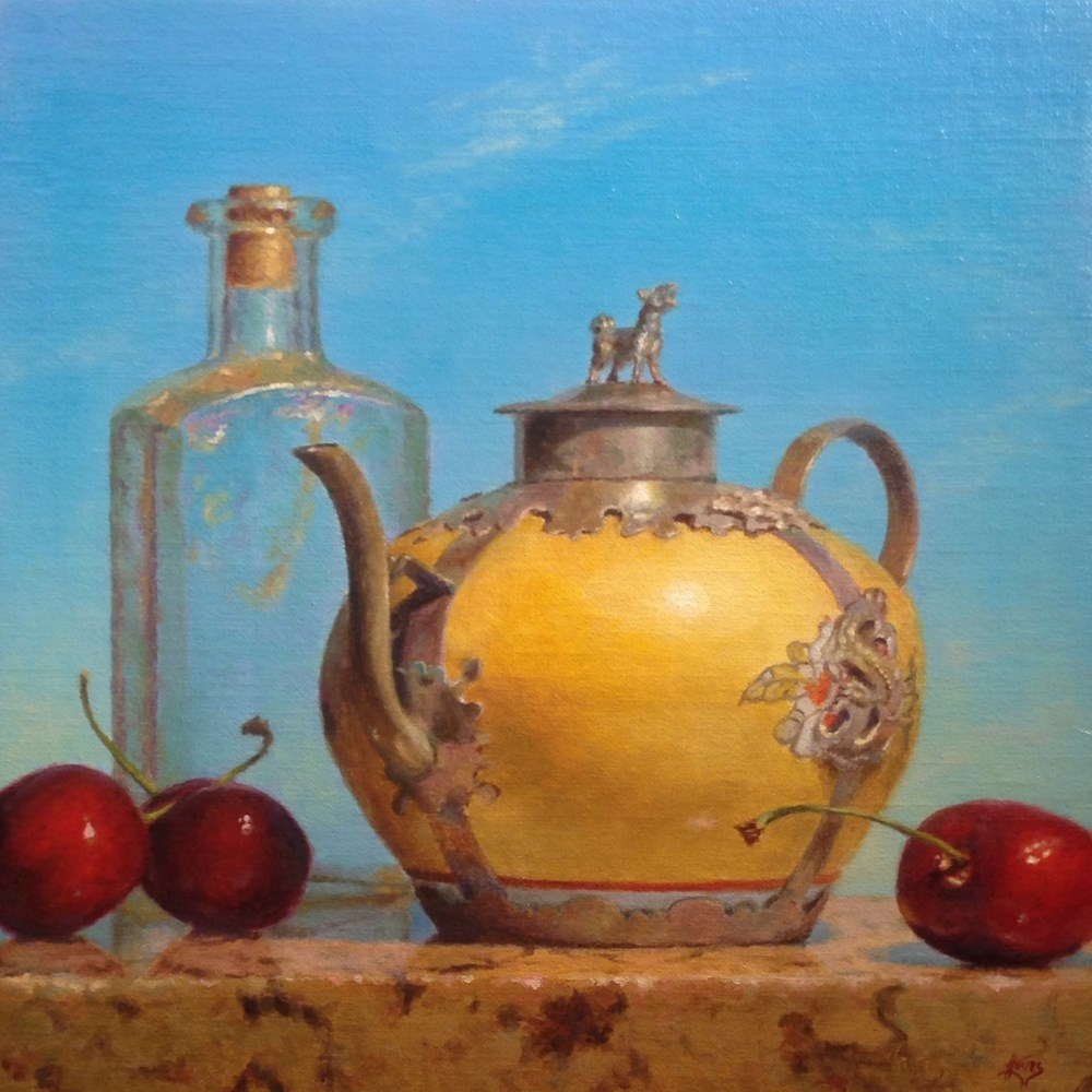 """Chinese Teapot, Bottle, Cherries, Sky"" Oil on Linen, 10x10 Inches, 2016 (sold)"