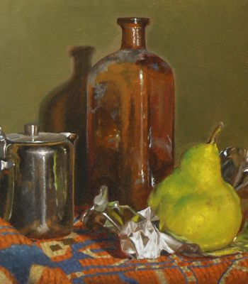 """Creamer, Bottle, and Pear"", oil on linen, 9x12 inches, 2014"