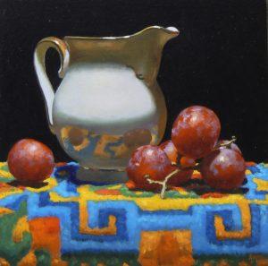 """Creamer, Grapes, Tibetan Rug"""