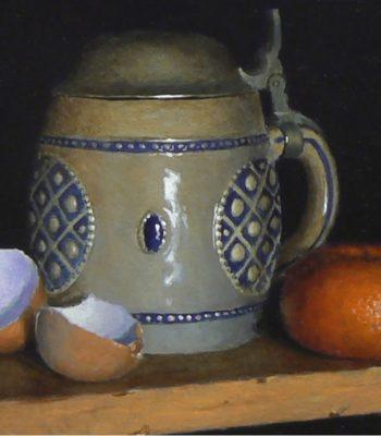"""Eggshells, Tankard, Orange"", acrylic on panel, 5x6 inches, 2015, Sold"