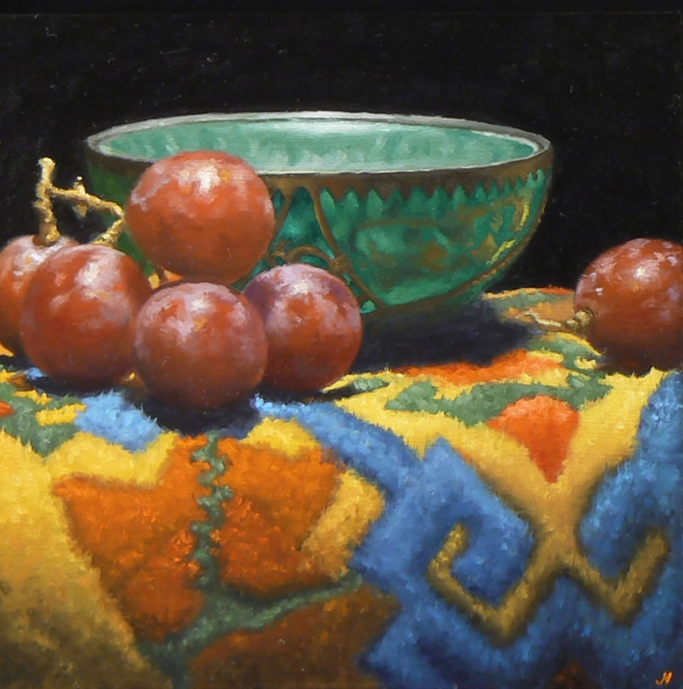 """Jade Bowl, Grapes, Tibetan Rug"": Oil Painting"