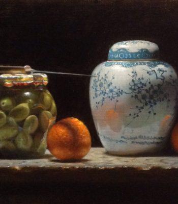 """Contemplation: Oranges, Olives, Ginger Jar"", oil on linen, 9x12 inches, 2017, Sold"