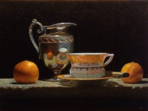 """Silver and Orange"", oil on linen, 9x12 inches"