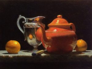 """Oranges, Silver, and Red Teapot"""