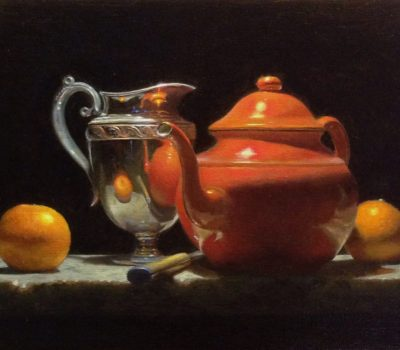 """Contemplation: Oranges, Silver, and Red Teapot"", oil on linen, 9x12 inches, 2017, Sold"