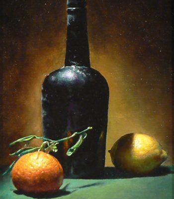 """Antique Bottle, Seville Orange, and Lemon"", oil on linen, 10x8 inches, 2012, Sold"