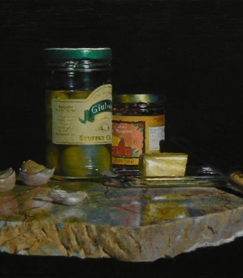 """Garlic, Olives, Tomatoes, Butter"", oil on linen, 11x16 inches, 2012, Available"