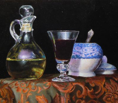 """Olive Oil, Wine, and Sugar Bowl"", oil on linen, 8x10 inches, 2013"