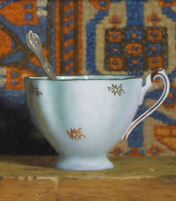 """Teacup with Oriental Rug XII"", oil on panel, 5x5 inches, 2015"