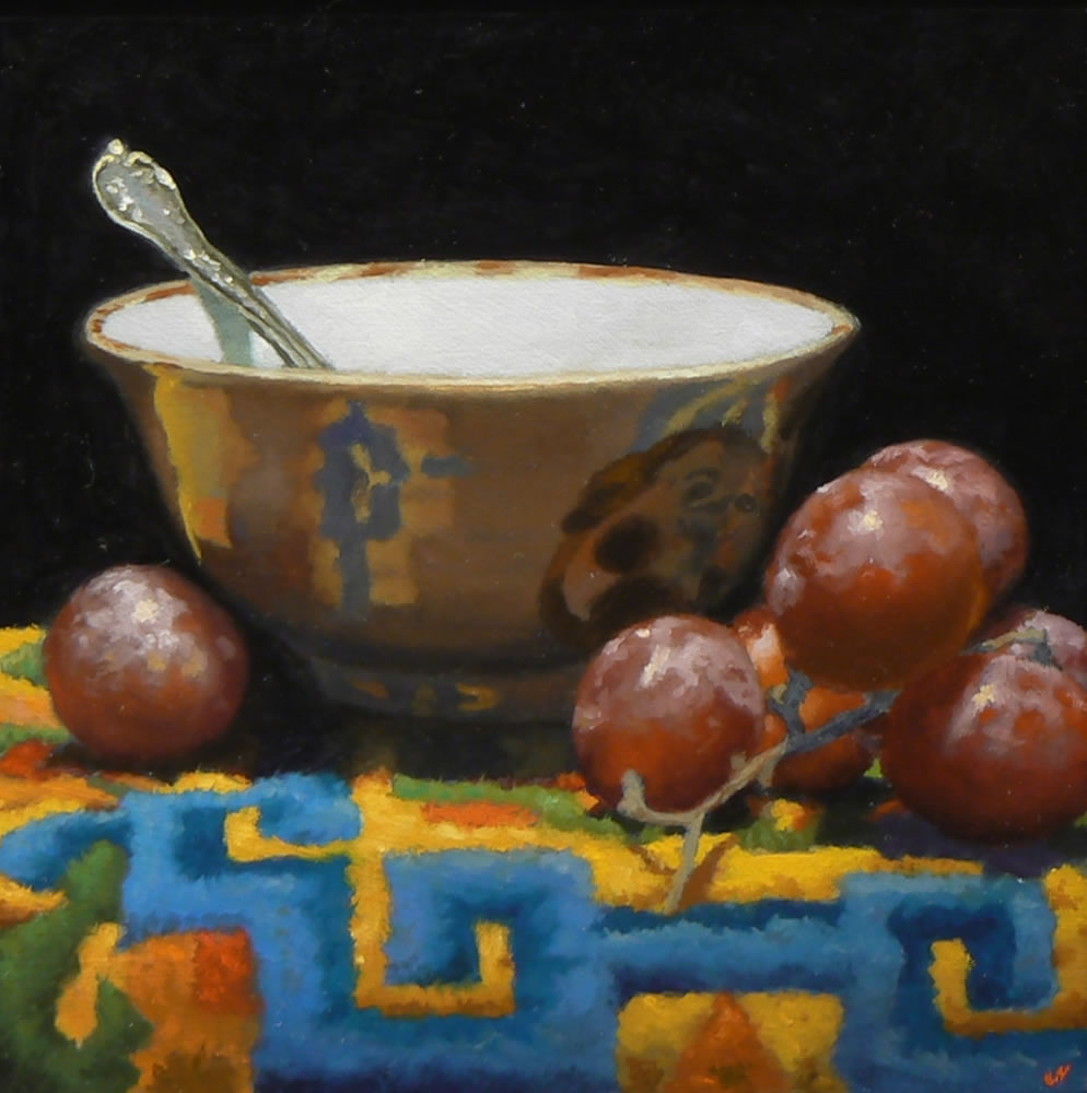 """Handmade Bowl, Grapes, Tibetan Rug"", oil on panel, 5×5 inches (sold)"