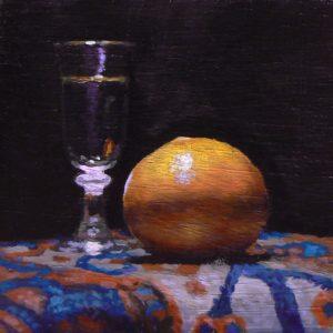 """""""Shotglass and Orange on Oriental Rug"""": Oil Painting"""