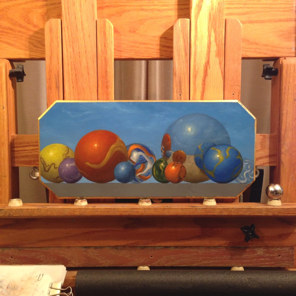 Right Panel Marbles Triptych; Oil Painting