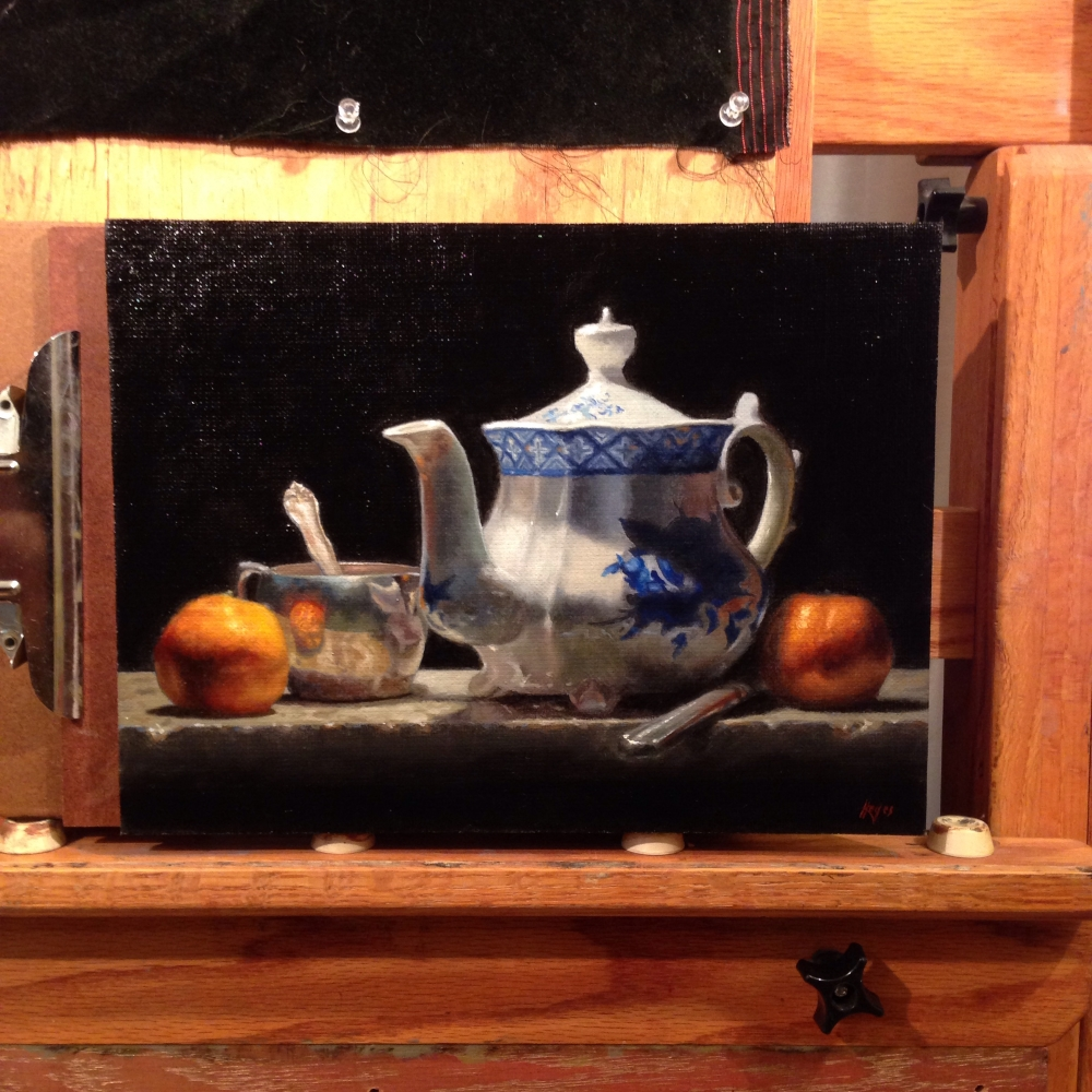 Oranges, Silver, Teapot: Oil Painting