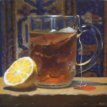 Jeffrey Hayes: Still Life; Oil Painting; Lemon, Tea, and Rug No. 1