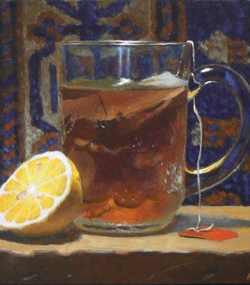 """Lemon, Tea, and Rug No. 1"", acrylic on panel, 5x5 inches, 2015, Sold"
