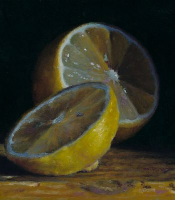 """Sliced Lemon"", oil on panel, 4x4 inches, 2012, Sold"