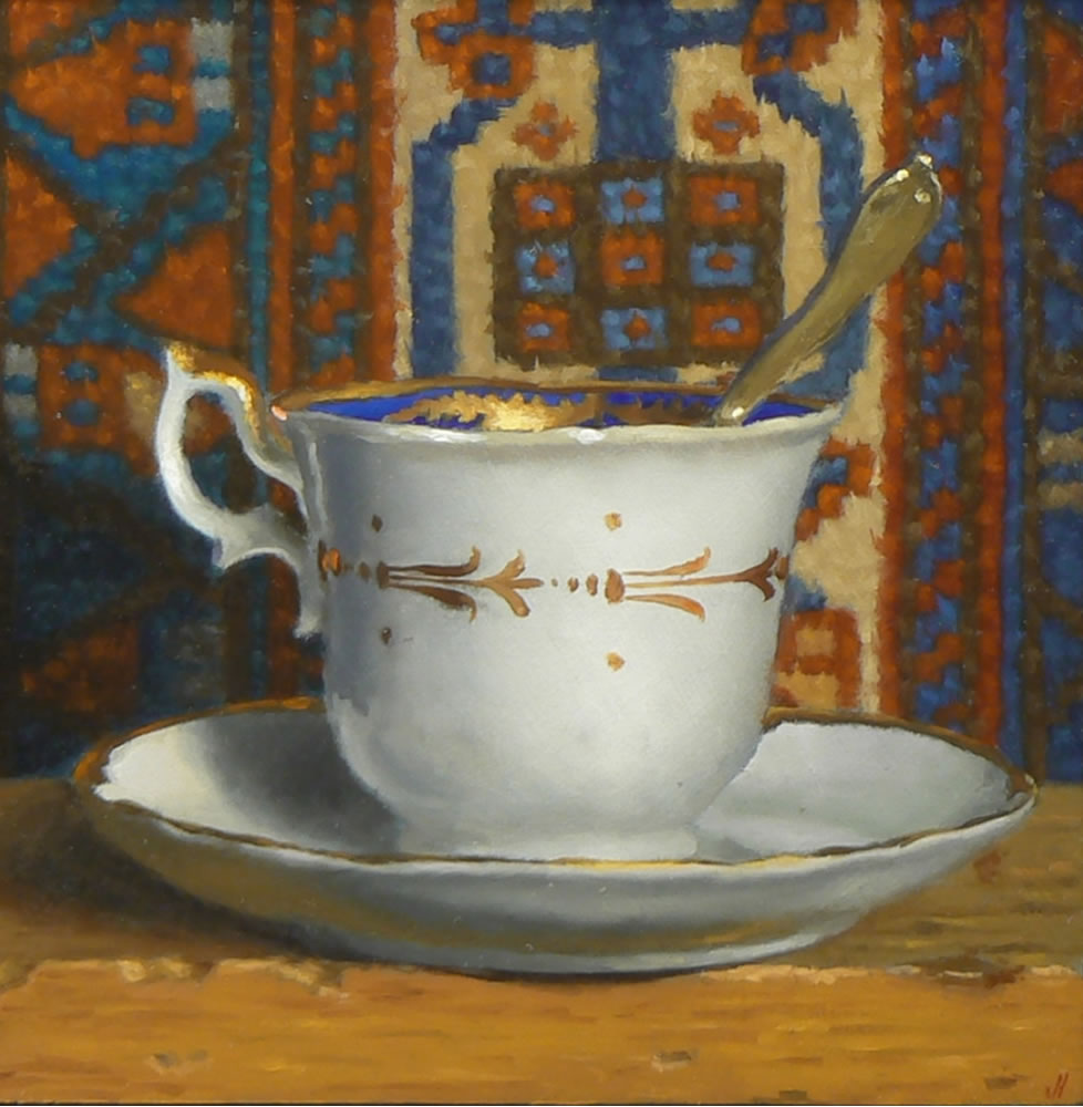 Jeffrey Hayes: Still Life Painting; Oil Painting; Teacup with Oriental Rug XIII