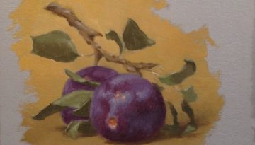 Jeffrey Hayes: Still Life Painting: Oil Painting: Fresh Plums