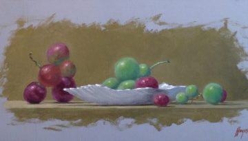 Jeffrey Hayes: Still Life Painting: Oil Painting: Grapes on the Half Shell