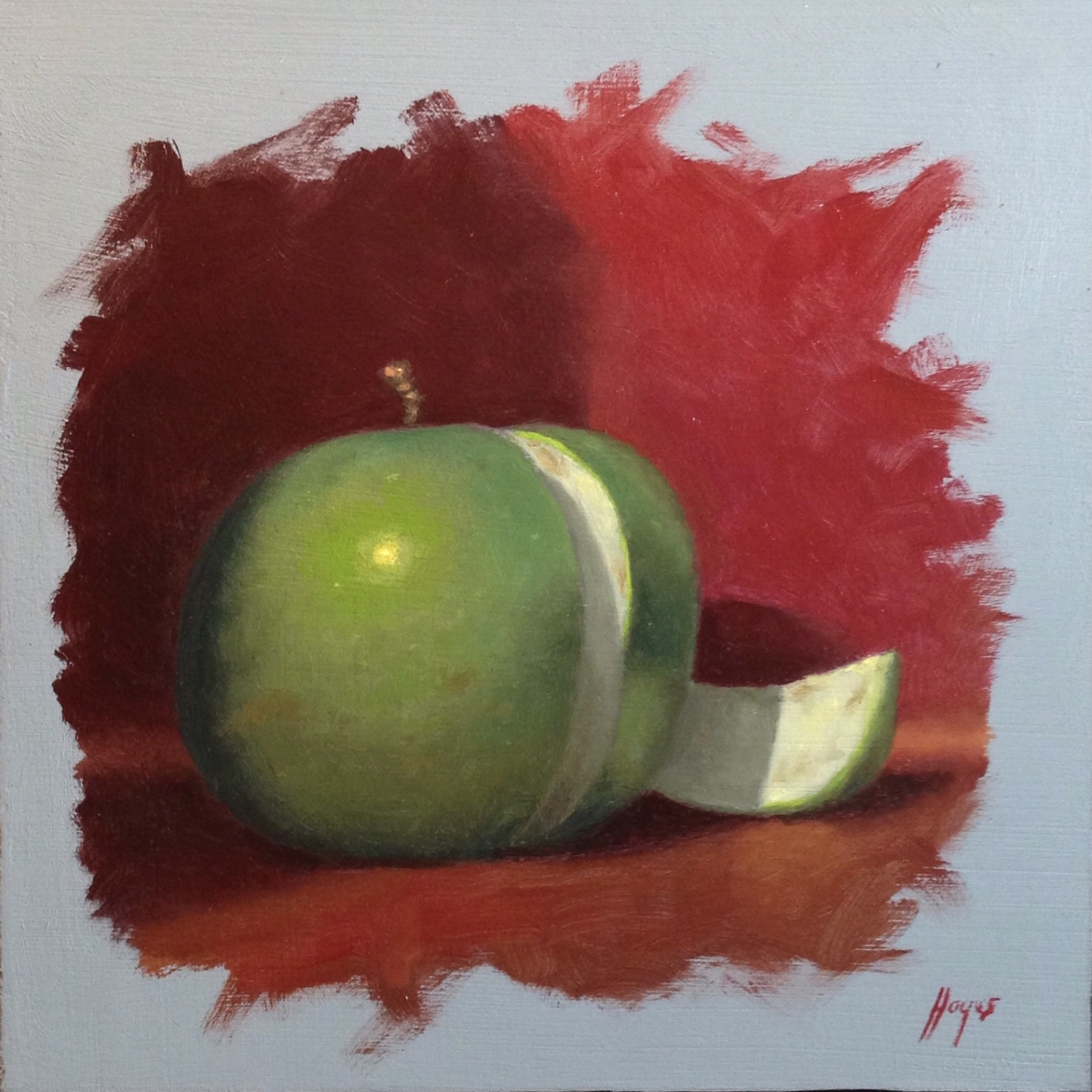 Jeffrey Hayes: Still Life Painting: Oil Painting: Sliced Green Apple