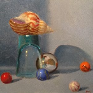 Jeffrey Hayes: Still Life Painting: Oil Painting: Fairy Tale No. 1: The Marbles, the Shell, and the Shotglass