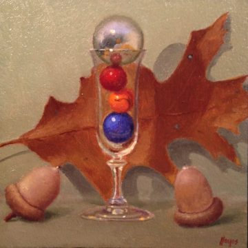 Jeffrey Hayes: Still Life Painting: Oil Painting: Fairy Tale: The Leaf, the Acorns, and the Wishing Well